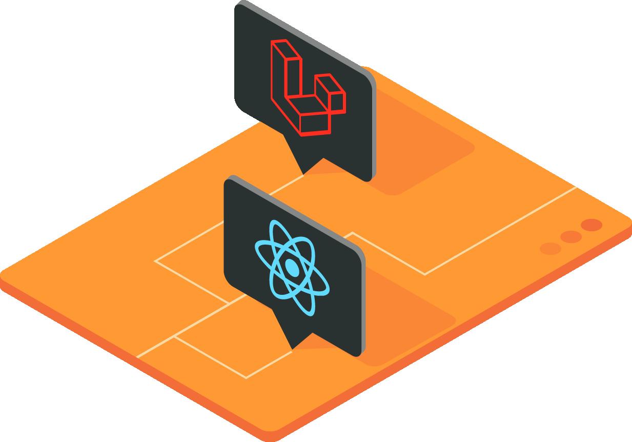 illustratie met logo React en Laravel.