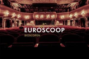 logo van Euroscoop bovenop een foto van een bioscoop