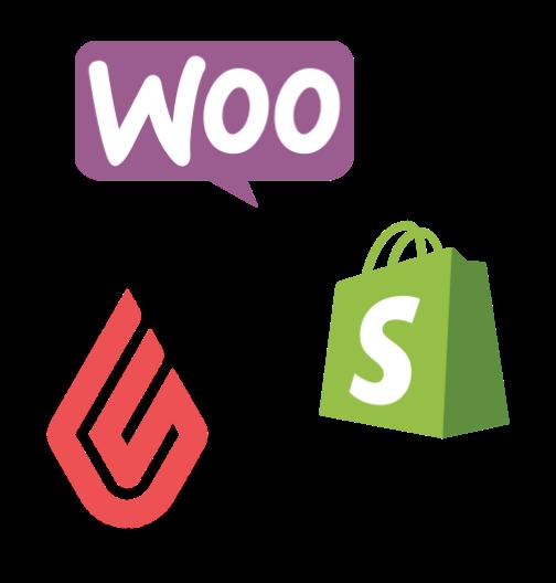 Logo's van WooCommerce, Shopify en Lightspeed