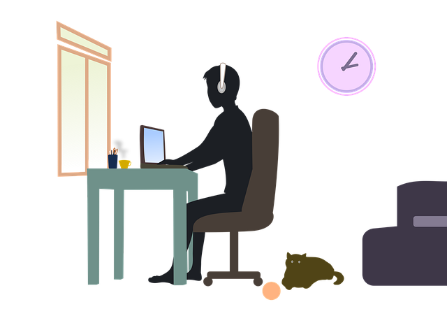getekende illustratie van een jongen aan het werk achter een laptop